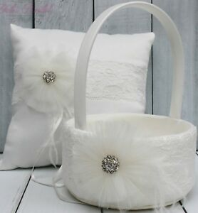 Beautiful Ivory Ring Bearer Pillow and Flower Girl Basket Set with Brooch, Lace