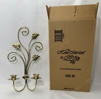 Brass Gold Leaf Scroll Wall Accent Decor Votive Sconce Homco Home Interiors Vtg
