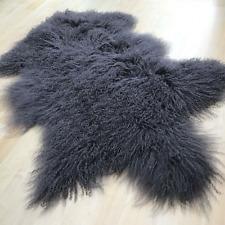 Gray 60x100CM REAL TIBETAN MONGOLIAN SHEEPSKIN LONG WOOL FUR HIDE PELT RUG