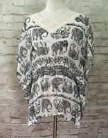 Red Camel Womens Ivory Sheer Elephant Print Boho Lace Dolman Blouse Top Size S