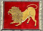 VINTAGE WOOL LION RUG, HANDMADE CAUCASIAN RUNNER QASHQAI CARPET (3FT X 2 FT)