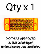 1 - Amber 21 LED Side Marker Clearance Light  Rectangle 12V Truck Trailer Camper