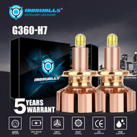 Pair 6-sides H7 LED Headlight bulb 2000W 6000K 300000LM Replacement Bulb
