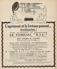 Y9454 Radiophone Le Familial R.I.C. - Pubblicità d'epoca - 1925 Old advertising