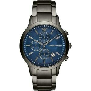 EMPORIO ARMANI AR11215 BLUE DIAL STAINLESS STEEL CHRONOGRAPH MEN'S WATCH  + BAG