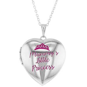 "Pink Princess Crown Girls Heart Photo Locket Pendant Necklace 19"""