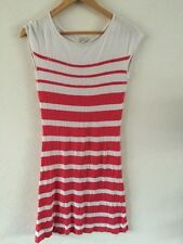 Mer Du Nord Soft Thin Knit Dress Size S Red & White Stripe With Sequin  R6570