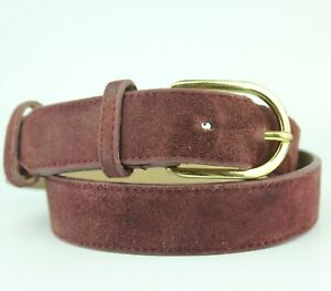 Burgundy Suede Finish Belt Gold Buckle Size XS-S