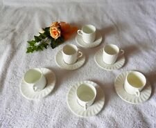 Modern 12 Piece White Glazed Coffee Cup and Saucer Set TIMELESS ELEGANCE