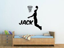 Personalised BasketBall Player Wall Art Vinyl Sticker Boys Bedroom Decor