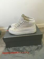PRADA authentic high top white suede shoes sneakers, size UK 7,5, EUR 41, US 8