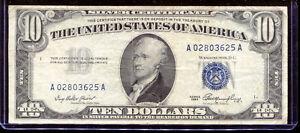 1953 $10 Silver Certificate A02803625A
