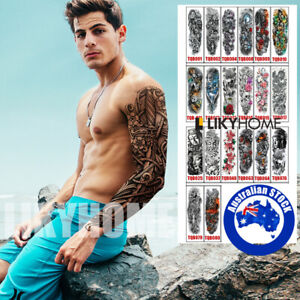 Temporary Full Arm Tattoo Sticker Waterproof Large Leg Fake Tattoos Body Art TQB