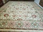 12' X 15' One-of-a-Kind Indian Hand-Knotted Wool Rug Hand Made Floral Ivory Nice