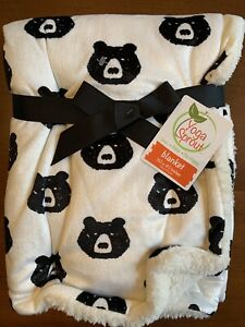 """Yoga Sprout Baby Blanket White Micro Mink Black Bears Reverse Sherpa 30"""" x 40"""""""