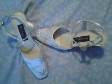 BRAND NEW - MEADOWS BRIDAL SHOES - IVORY WHITE/SILVER STONES  STRAPPY SLINGBACK