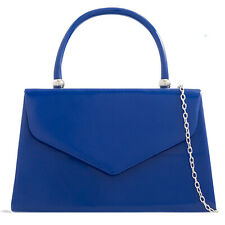 Royal Blue Tote Patent Wedding Ladies Party Prom Evening Clutch Hand Bag Purse