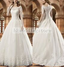 New Lace Long Sleeves Boat Neck A-Line Wedding Dress Bridal Gown Custom Size