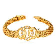 New Cool 18K Gold Plated Circle Design Wide Chain Bracelet Women's Cuff Jewelry