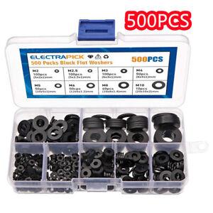 500PCS Nylon Flat Washers Thick Flat Sealing Black Plastic Washers Form M2-M10