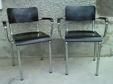 paire de fauteuils rene HERBST bakelite NOIR tubulaire milieu XX eme siecle