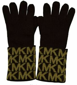 GENUINE MICHAEL KORS WOMENS GLOVES BROWN & CAMEL ACRYLIC SIGNATURE LOGO MSRP $42