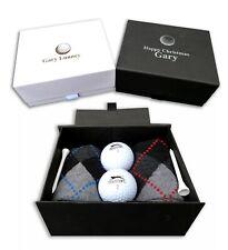 Personalised golf gift box socks, balls, tees, custom print birthday golfer set