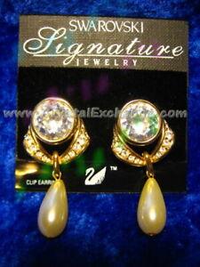Swarovski Signature Gold / Pearl Clip Earrings CE1654669 w/orig Swarovski Card