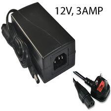 CCTV Power Supply Unit Adapter PSU 3 Amp 3000ma 2.1mm 12V DC 3A UK Plug