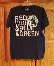 MEN AMERICAN LIVING RED WHITE & BLUE & GREEN ENVIORMENTAL RECYCLING SHIRT SMALL