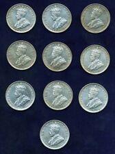 AUSTRALIA GEORGE V 1925  1 SHILLING SILVER COINS (10)