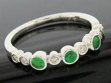 R159- Genuine 9K White Gold NATURAL DIAMOND EMERALD Eternity Ring Trilogy size M