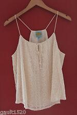 NWT C & C California Vanilla White Crochet Knit Sexy Hippie Drawstring Top L $78