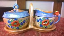 ANTIQUE VINTAGE 3 PIECE HAND PAINTED LUSTERWARE SUGAR CREAMER SET MADE IN JAPAN