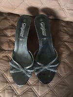 "Your Feet Look Gorgeous Black Slip On Heeled Mules Shoes Size 6 UK 39 EU Heel 3"""