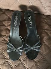 Your Feet Look Gorgeous Black Slip On Heeled Mules Shoes Size 6 UK 39 EU Heel 3""