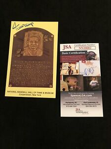 Willie Mays Signed Vintage HOF Plaque Postcard Autograph Perfect! JSA