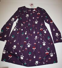 NEW Hanna Andersson Girls 140 10 year Dress Deep Purple With Flower Print Long S