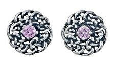 925 Sterling Silver Round Celtic Knot Stud Earring with October Birthstone