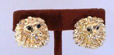 inch x 7/8 inch Prettier than Pict Goldtone New Lion Head Pierced Earrings 7/8
