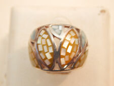 Vintage Jewellery - Sterling Silver & Mother of Pearl Ring - Deceased Estate