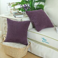 2pcs Deep Purple Cushion Cover Pillow Case Corduroy Corn Striped Home Decor 45cm