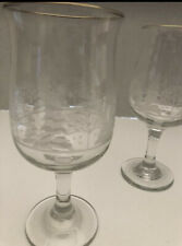 Arby's collection gold rimmed etched wine glasses