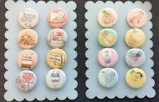 8 BT21 Pins BTS Food&Drink Button Set Koya RJ Shooky Mang Chimmy Tata Cooky Van