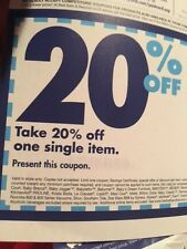 Ten (10) ; 20% off single item - Bed Bath & Beyond (Does NOT Expire)