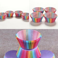 100*Rund Regenbogen Papier Muffinförmchen Muffinform Cupcake Backform 7cm