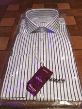 "T.M.Lewin 16"" Blue Striped Double Cuff Shirt"
