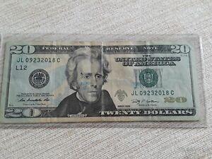 BIRTHDAY, ANNIVERSARY in SERIAL NUMBER $20 Dollar 09/23/2018 lucky bill.