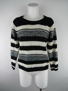 Milano Petite Women sz PL Black White Acrylic Striped Crew Neck Pullover Sweater