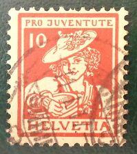 Suisse oblitéré, n°153, 10c (+ 5c) Vaudoise, pro juventute pour la jeunesse 1916